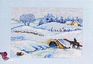 Permin Kits122313 ~ Winter Landscape ~ 28 count Linen