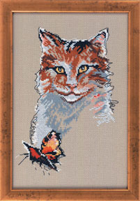 Permin Kits125160 ~ Cat With Butterfly ~ 14 count Aida