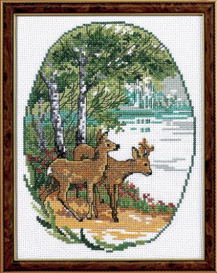 Permin Kits125510 ~ Fallow Deer ~ 14 count Aida