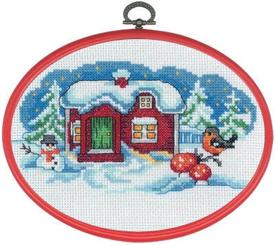Permin Kits126296 ~ Snowman Finch With Hoop ~ 16 count Aida