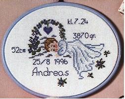 Permin Kits126825 ~ Birth Announcement - Boy ~ 11 count Aida