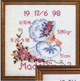 Permin Kits129703 ~ Birth Announcement - Girl ~ 14 count Aida