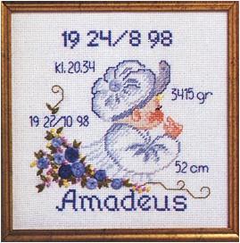 Permin Kits129704 ~ Birth Announcement - Boy ~ 14 count Aida