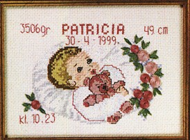 Permin Kits129867 ~ Birth Announcement - Girl ~ 14 count Aida