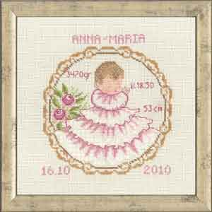 Permin Kits129961 ~ Baby Girl ~ 14 count Aida