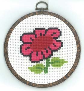 Permin Kits130331 ~ Flower With Frame ~ 18 count Aida