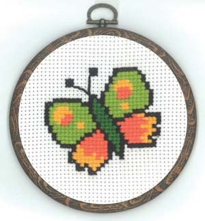 Permin Kits130333 ~ Butterfly With Frame ~ 18 count Aida