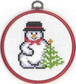 Permin Kits131295 ~ Snowman With Tree ~ 8 count Aida