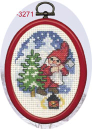 Permin Kits133271 ~ Elf With Spruce ~ 14 count Aida