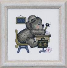Permin Kits133359 ~ Teddy In School ~ 16 count Aida