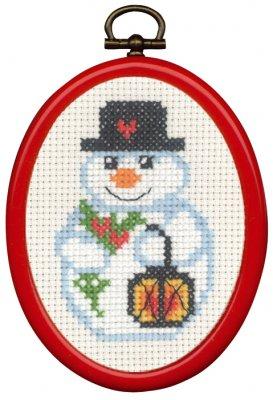 Permin Kits135273 ~ Snowman & Light ~ 14 count Aida