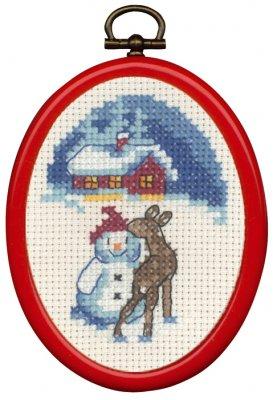 Permin Kits135277 ~ Snowman & Deer ~ 14 count Aida