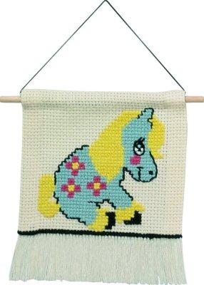Permin Kits135444 ~ MFK ~ Blue Pony ~ 6 count Ecru Aida