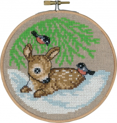 Permin Kits136243 ~ Deer In Snow With Hoop ~ 26 count Linen