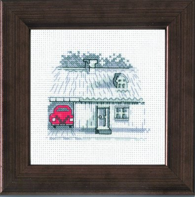 Permin Kits147114 ~ Red Car In Garage ~ 18 count Aida