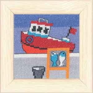 Permin Kits149139 ~ Red Fishing Vessel ~ 14 count Aida