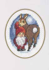 Permin Kits172270 ~ Pixie With Reindeer Card ~ 14 count Aida