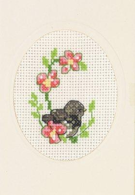 Permin Kits173165 ~ Sparrow Greeting Card ~ 14 count Aida