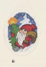 Permin Kits173283 ~ Elf With BagChristmas Card ~ 14 count Aida