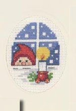 Permin Kits173284 ~ Elf In Window Christmas Card ~ 14 count Aida