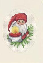 Permin Kits173288 ~ Elf With Light Christmas Card ~ 14 count Aida
