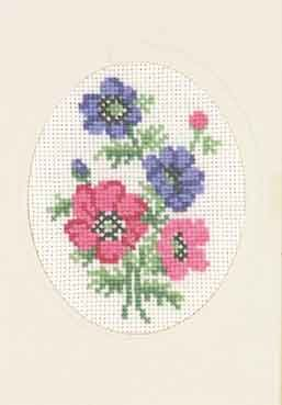 Permin Kits175101 ~ Blue Pink Flowers Card ~ 18 count Aida