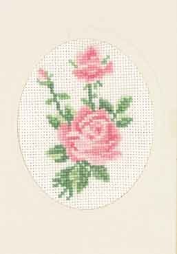 Permin Kits175102 ~ Pink Rose Card ~ 18 count Aida