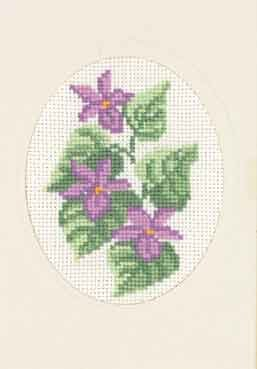 Permin Kits175106 ~ Violets Card ~ 18 count Aida