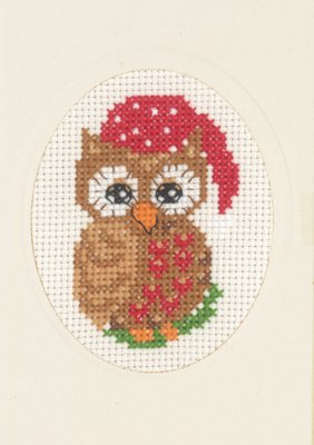 Permin Kits175282 ~ Owl Card With Envelope ~ 14 count Aida