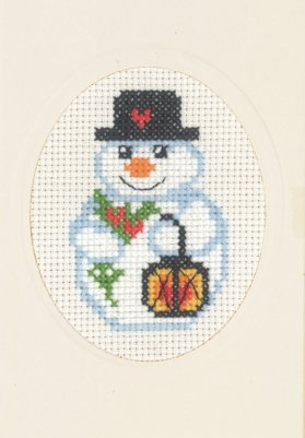 Permin Kits175283 ~ Snowman & Light Card With Envelope ~ 14 count Aida