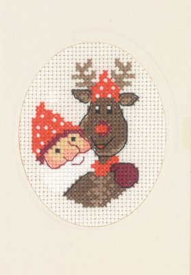Permin Kits175285 ~ Elf & Rudolf Card With Envelope ~ 14 count Aida