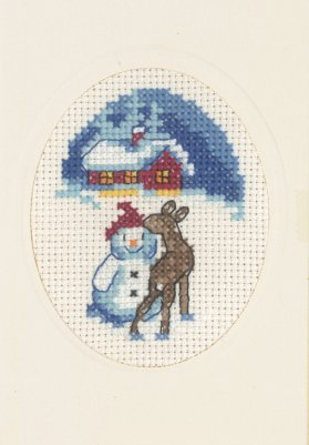 Permin Kits175287 ~ Snowman With Deer Card With Envelope ~ 14 count Aida