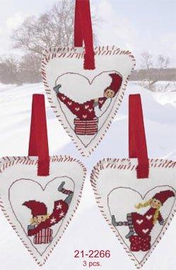 Permin Kits212266 ~ Three Chistmas Hearts ~ 14 count Aida