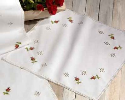 Permin Kits270635 ~ Hardanger With Roses Tablecloth ~ Hardanger/Aida