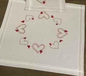 Permin Kits270674 ~ Christmas Heart Tablecloth ~ Linen