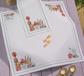 Permin Kits271354 ~ Spring Flowers Tablecloth ~ Linen