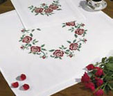 Permin Kits271674 ~ Wreath Of Flowers Tablecloth ~ Cotton