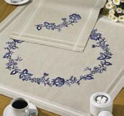 Permin Kits271680 ~ Blue Flowers Tablecloth ~ Linen