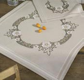 Permin Kits271807 ~ Flowers Tablecloth ~ Linen