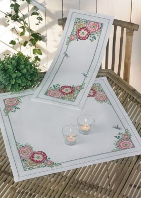 Permin Kits273871 ~ Hollyhock Tablecloth (bottom) ~ 14 count Aida