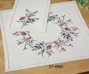 Permin Kits 274862 Flowers Table Cloth ~ 18 Count Linen