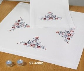 Permin Kits 274882 Classic Flowers Table Cloth ~  Printed Prefinished Cotton