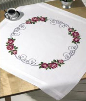 Permin Kits 274946 Roses Circle Table Cloth ~  Printed Prefinished Linen