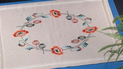 Permin Kits275708 ~ Poppy Tablecloth ~ Prefinished
