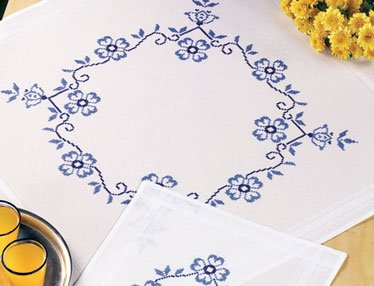 Permin Kits275758 ~ Blue Flowers Tablecloth