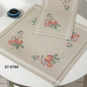 Permin Kits 275760 Flowers Table Cloth ~  Printed Prefinished Linen