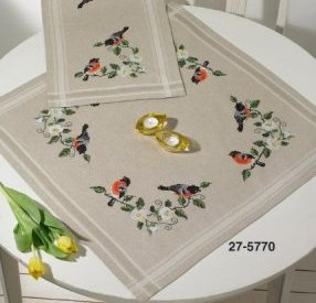Permin Kits 275770 Bullfinch Table Cloth ~  Printed Prefinished Linen