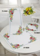 Permin Kits275829 ~ Spring Flowers ~ Tablecloth (lower) ~ 8 count White Aida