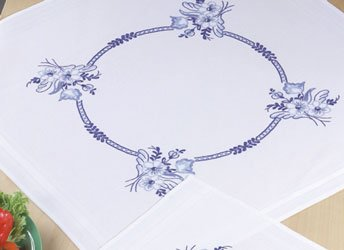 Permin Kits276654 ~ Blue Flowers Tablecloth