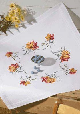 Permin Kits279522 ~ Red & Yellow Flower Tablecloth ~ Prefinished